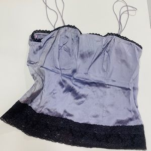 Worth Lavender Ice Charmeuse Lace Trim Camisole